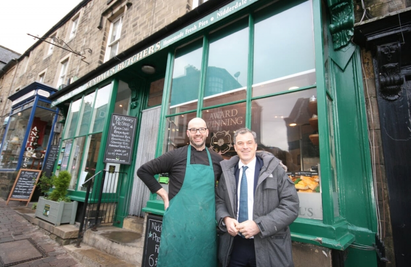 With Paul Kendall outside Kendalls Farm Butchers