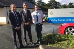 Julian Smith MP and Rod Barnes at Pateley Bridge ambulance station